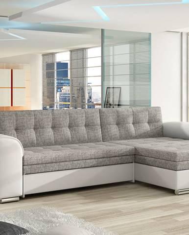 Rohová sedačka CONFORTI Cf_01, pravá, šedá látka/bílá ekokůže