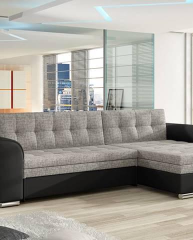 Rohová sedačka CONFORTI Cf_03, pravá, šedá látka/černá ekokůže