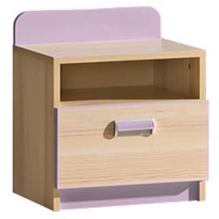 LORENTO, noční stolek L12, jasan/fialová