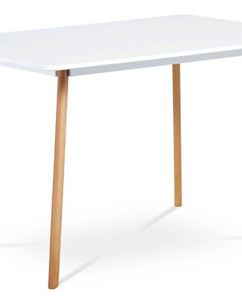 Smartshop Jídelní stůl 120x80 cm, MDF, bílý matný lak, masiv buk, přírodní odstín DT-605 WT
