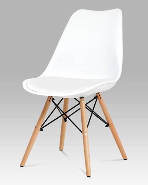 Smartshop Jídelní židle CT-741 WT, bílý plast / bílá koženka / natural