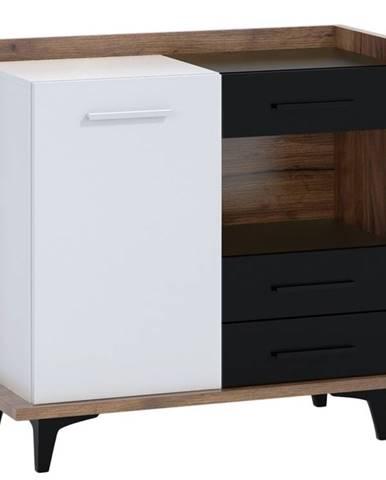 BOX01 – komoda 1D3S, craft tobaco/bílá/černá