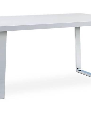 Jídelní stůl 150x90 cm, MDF deska, bílý vysoký lesk, chromovaná podnož AT-2088 WT