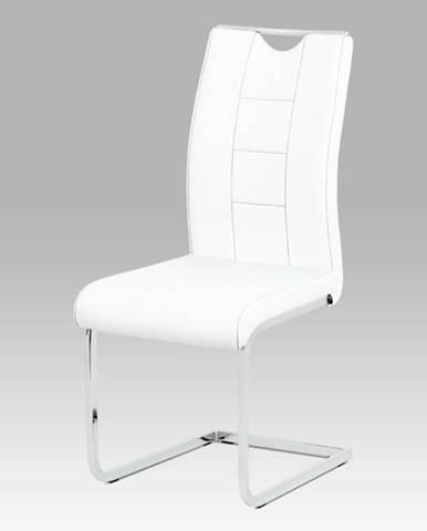 Jídelní židle DCL-411 WT, bílá koženka/chrom