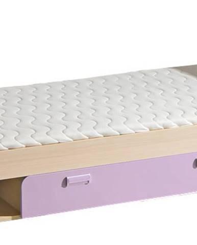 LORENTO, postel L13, jasan/fialová,včetně matrace