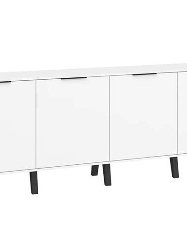 Sven 03 - Komoda 4D, bílá/bílý lesk