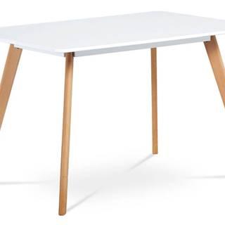Jídelní stůl 120x80 cm, MDF, bílý matný lak, masiv buk, přírodní odstín DT-605 WT