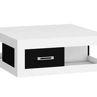 VERIN/02, konferenční stolek, bílá/černý lesk