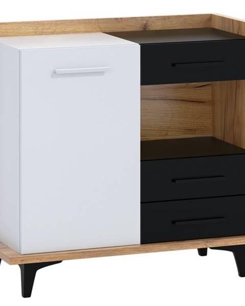 MORAVIA FLAT BOX01 – komoda 1D3S, craft zlatý/bílá/černá