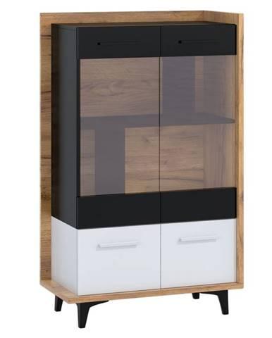 Box 12– vitrína 2D, craft zlatý/bílá/černá