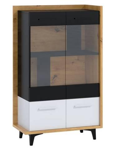 Box 12– vitrína 2D, dub artisan/bílá/černá
