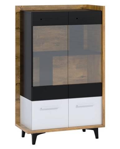 Box 12– vitrína 2D, dub burgundský/bílá/černá
