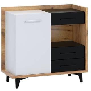 BOX01 – komoda 1D3S, craft zlatý/bílá/černá