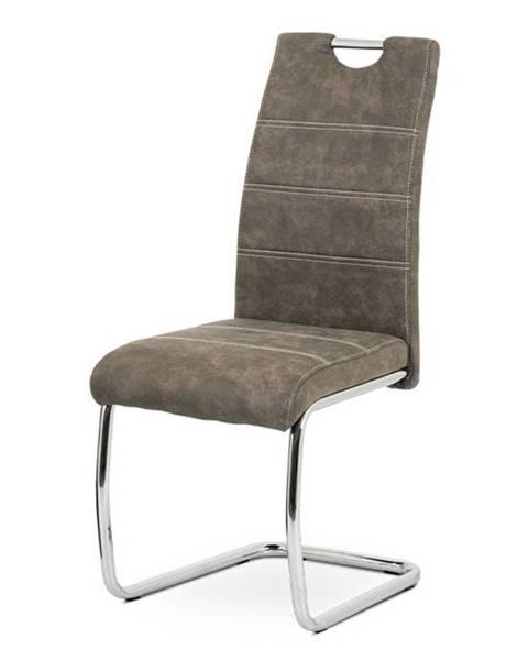 Smartshop Jídelní židle HC-483 BR3, hnědá látka/chrom