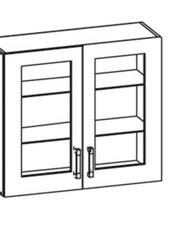 IRIS horní skříňka G80/72 vitrína, korpus bílá alpská, dvířka ferro