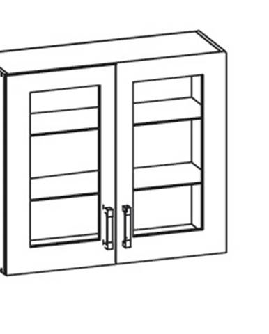 IRIS horní skříňka G80/72 vitrína, korpus wenge, dvířka ferro