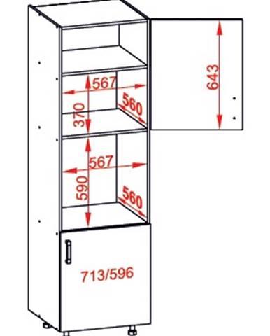 IRIS vysoká skříň DPS60/207 pravá, korpus šedá grenola, dvířka bílá supermat