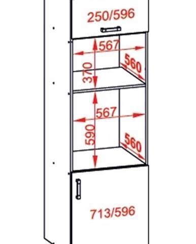 IRIS vysoká skříň DPS60/207O pravá, korpus wenge, dvířka ferro
