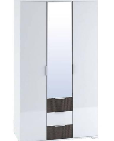 Šatní skříň 3-dveřová TERRA wenge/bílý lesk
