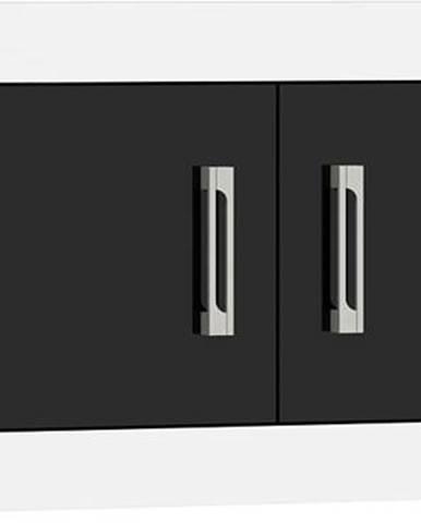 VERIN/23, závěsná skříňka 2D, bílá/černý lesk
