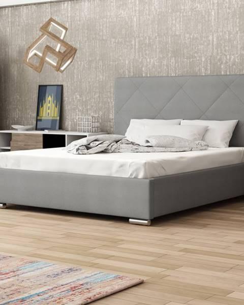 Smartshop Čalouněná postel SOFIE 5 180x200 cm, šedá látka