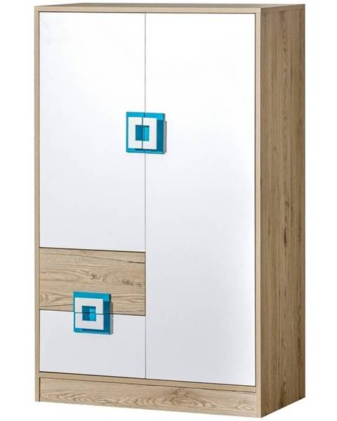 Smartshop Komoda vysoká NIKO 7, dub jasný/bílá/tyrkys