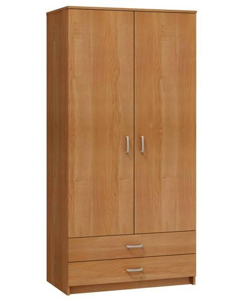 MORAVIA FLAT Šatní skříň 2D-2S, olše