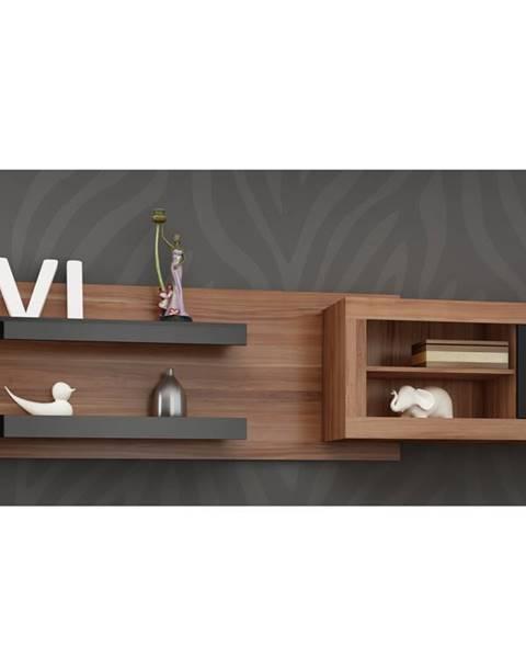 MORAVIA FLAT VERIN/07, závěsná skříňka, švestka wallis/černý lesk