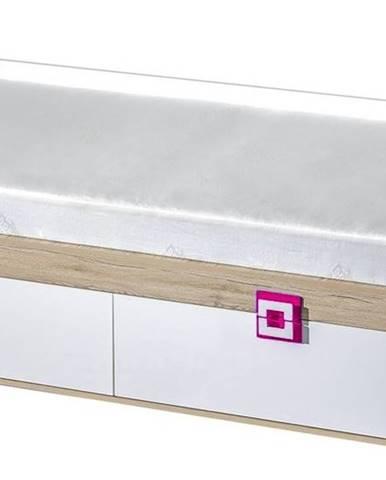 Postel 90x200 NIKO 14, dub jasný/bílá/růžová