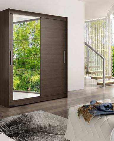 Šatní skříň WESTA VI, choco/zrcadlo