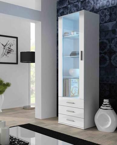 SOHO, vitrína vysoká S-1, bílý mat/bílý lesk
