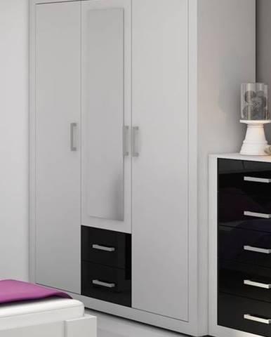VIKI, šatní skříň 3D, bílá/černý lesk