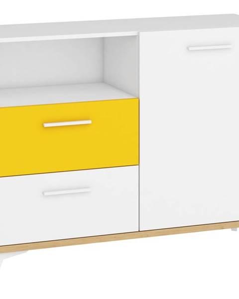 MORAVIA FLAT Hey - Komoda 125W, dub artisan/bílá/žlutá