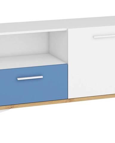 Hey - Komoda 125N, dub artisan/bílá/modrá