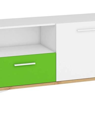 Hey - Komoda 125N, dub artisan/bílá/zelená