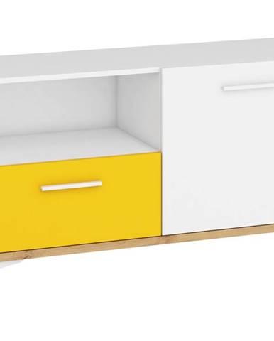Hey - Komoda 125N, dub artisan/bílá/žlutá