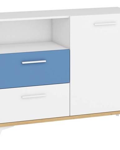 Hey - Komoda 125W, dub artisan/bílá/modrá