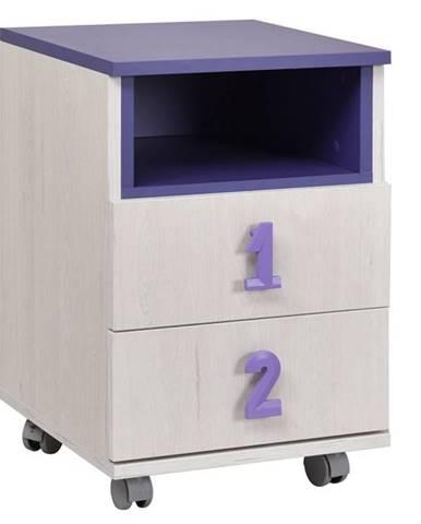 NUMERO komoda 2F NIKA, dub bílý / fialová