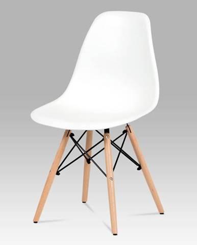 Jídelní židle CT-758 WT, plast bilý / masiv buk / kov černý
