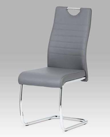 Jídelní židle, koženka šedá / chrom DCL-418 GREY