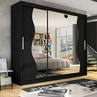 Šatní skříň ASTON S, černá/zrcadlo