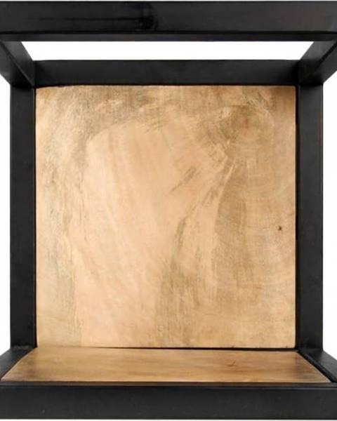 HSM collection Nástěnná police s detailem z mangového dřeva HSM collection Caria, 25 x 25 cm