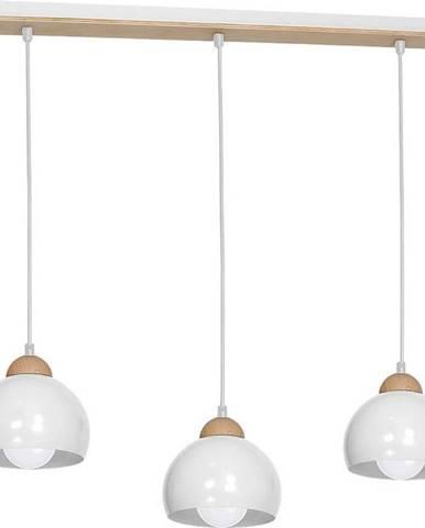 Bílé závěsné svítidlo s dřevěnými detaily Homemania Dama Tres