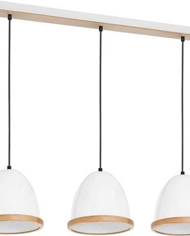 Bílé závěsné svítidlo s dřevěnými detaily Homemania Studio Tres