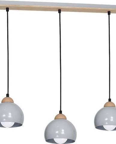 Šedé závěsné svítidlo s dřevěnými detaily Homemania Dama Tres