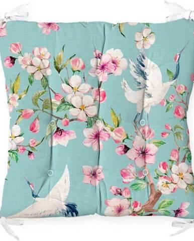 Podsedák na židli Minimalist Cushion Covers Flowers and Bird, 40 x 40 cm