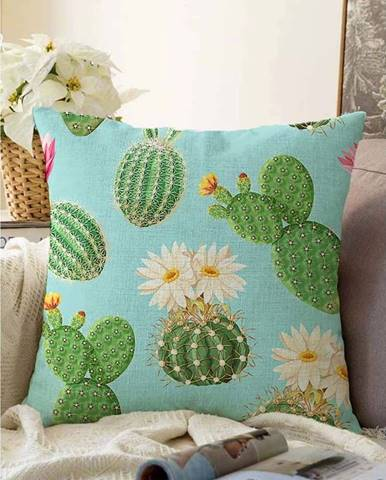 Modro-zelený povlak na polštář s příměsí bavlny Minimalist Cushion Covers Blooming Cactus,55x55cm