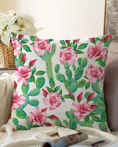 Povlak na polštář s příměsí bavlny Minimalist Cushion Covers Blooming Cactus,55x55cm