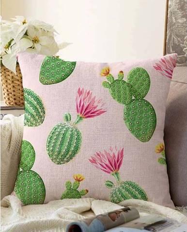 Růžovo-zelený povlak na polštář s příměsí bavlny Minimalist Cushion Covers Blooming Cactus,55x55cm