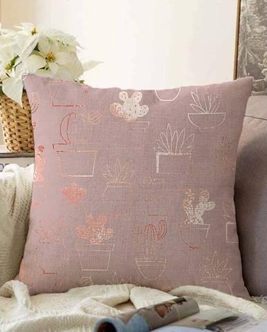 Růžový povlak na polštář s příměsí bavlny Minimalist Cushion Covers Succulent,55x55cm